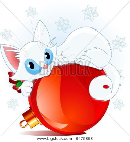 A cute white cat lying on a Christmas ball. poster