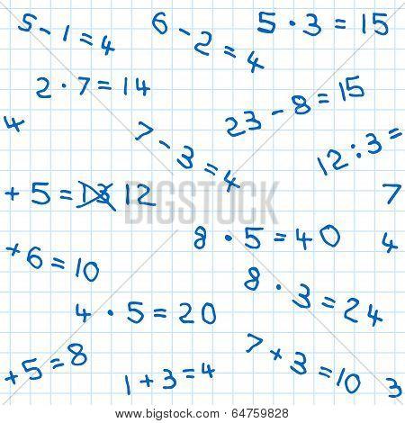 Seamless Pattern Of Mathematics Homework On Checkered Paper