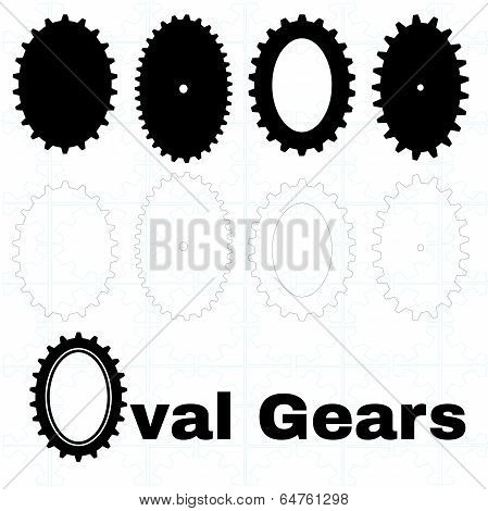 Set Of Oval Cogs Or Gears