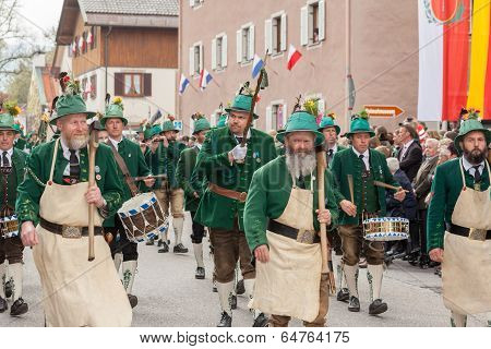 Miesbach / Germany / Bavaria - 05.May: Mountain troops armed with a hatchet