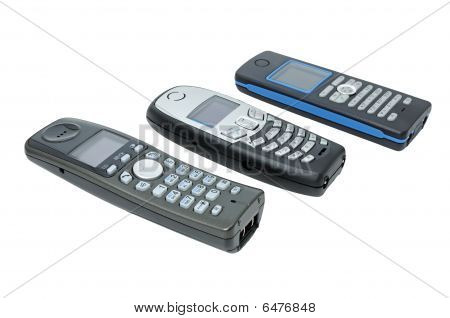 Three wireless phones with LCD standard DECT. poster