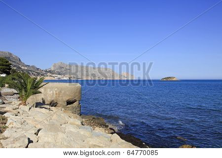 Mediterranean Coast and old Gun Pill Box