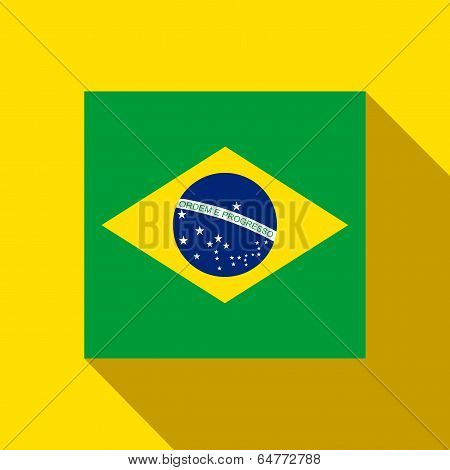 Brazil 2014 Flat Icon With Brazilian Flag