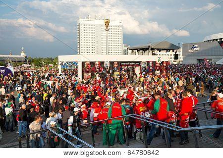 Minsk, Belarus - May 9 - Belarussian, Swiss And Russian Fans In Front Of Minsk Arena On May 9, 2014