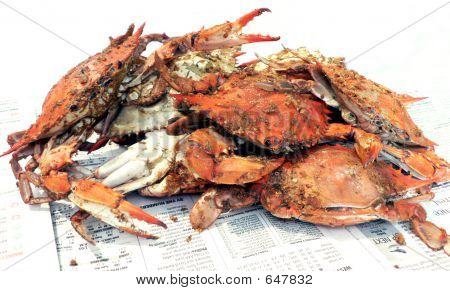 cooked blue crabs poster