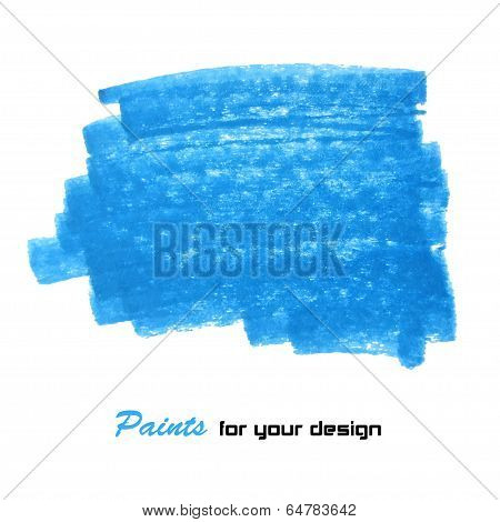 Bright blue vector brush stroke hand painted background poster