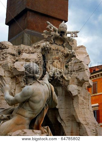 ROME, ITALY - April 28, 2014: Detail of the Fountain of the Four Rivers in Piazza Navona Rome Italy