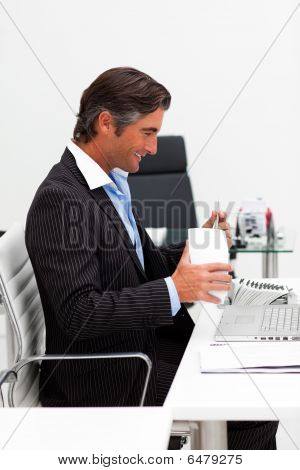 Businessman Eating Chinese Food With Chopstick