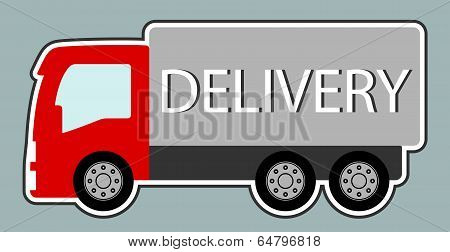 Delivery Truck With Red Cab