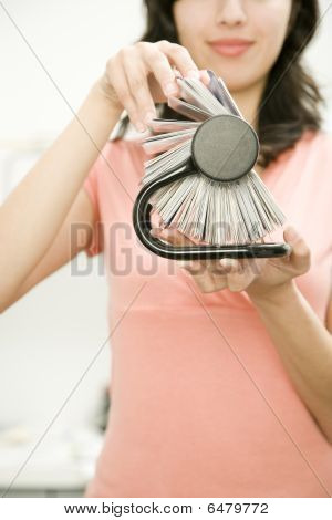 Young Woman With Rotary Card File
