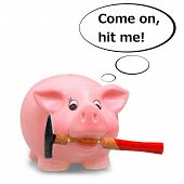 Piggy bank holding hammer in his mouth illustration poster