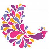 Illustration of a retro-style bird with lavish plumage. poster