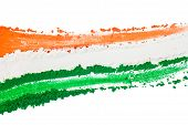 The tricolor of the Indian national flag painted with dye powder and isolated on white. poster
