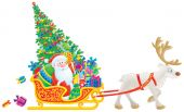Santa Claus with the Christmas tree and gifts is traveling by the sledge with reindeer poster