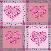 Pink color seamless Valentine pattern with hearts poster