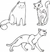 Comic cute cats. Set of black and white vector images. poster