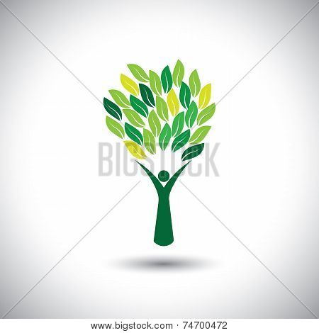 Colorful People Tree - Eco Lifestyle Concept Vector.