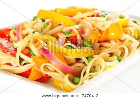 linguine pasta with vegetables angle upclose