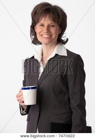 Happy, Beautiful Businesswoman On Her Coffee Break