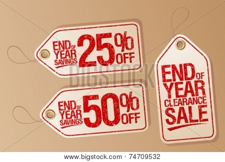 End of year clearance sale vector labels set.