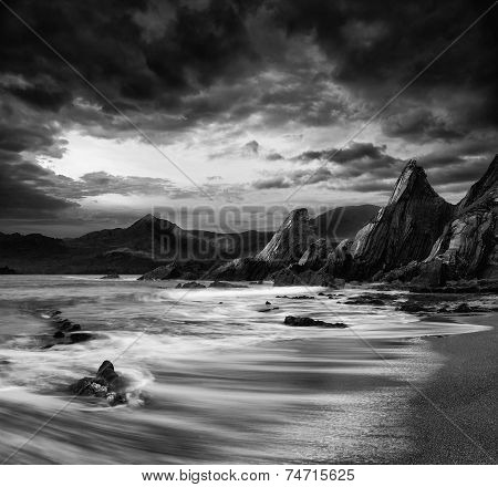Beautiful Landscape Of Mountains And Sea At Sunset  Black And White