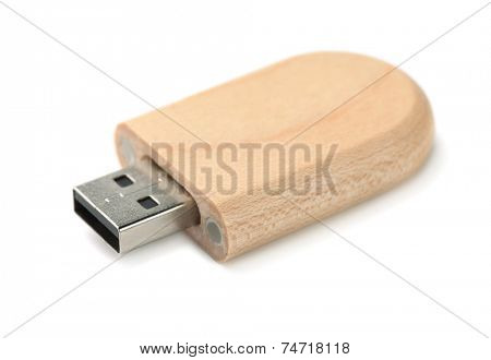 Wooden Usb memory stick isolated on white