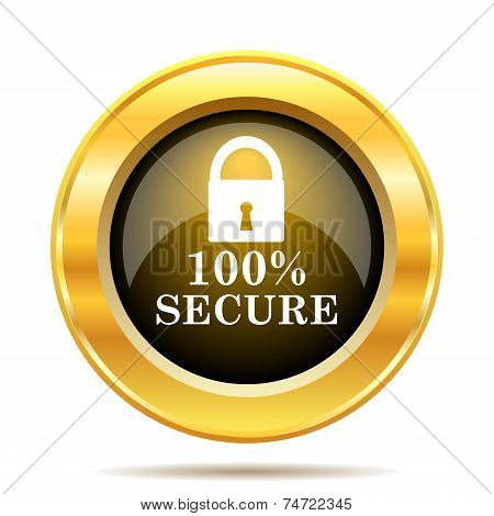 100 percent secure icon. Internet button on white background. poster