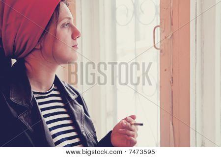 Retro Girl In Red Kerchief