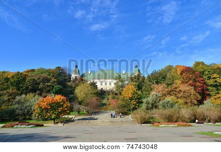 Ujazdowski Castle in Warsaw. Fall season. South facade with stairs.