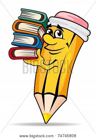 Smiling pencil with books