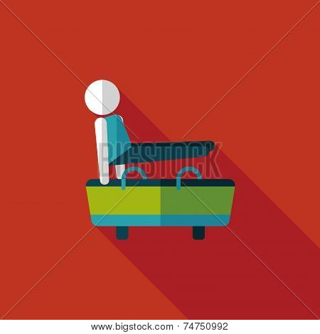 Gymnastic Pommel Horse Flat Icon With Long Shadow,eps10
