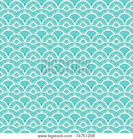 Teal vintage hand drawn art deco pattern