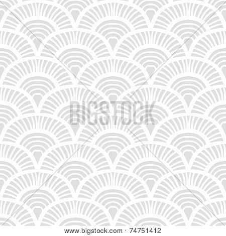 Vintage hand drawn art deco pattern with scale motifs. Vector seamless background in 1930s and 1920s fashion style poster