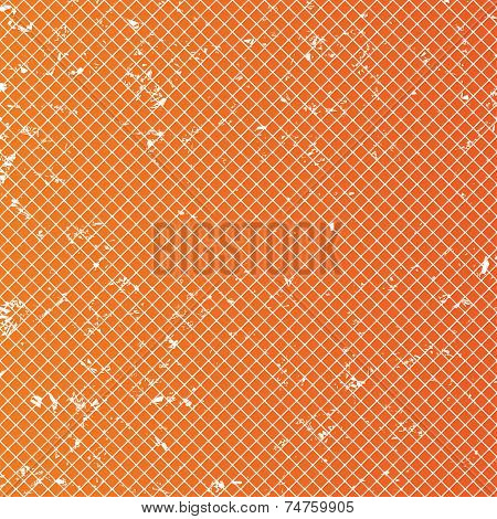 Rhombus cell sheet pattern background. Abstract grid with grunge wallpaper. Orange background. Vector poster