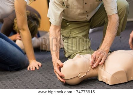 Seniror first aid student practitcing CPR on a dummy. poster