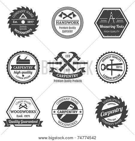 Carpentry emblems set