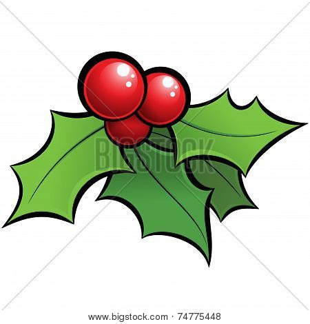 Cartoon Vector Shiny Holli Mistletoe Christmas Ornament With Black Outlines