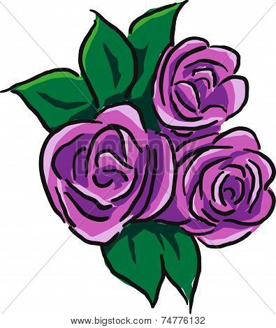 Three purple roses with leaves