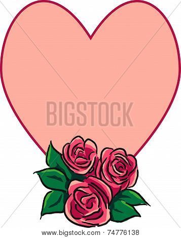 Roses and heart with message space