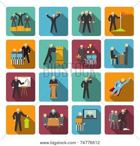 Leadership icons flat