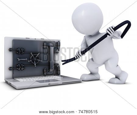 3D Render of Morph Man swinging an axe