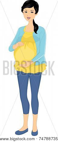 Illustration Featuring a Pregnant Asian