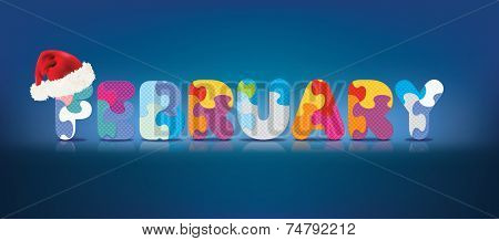 FEBRUARY written with alphabet puzzle with christmas hat - vector illustration