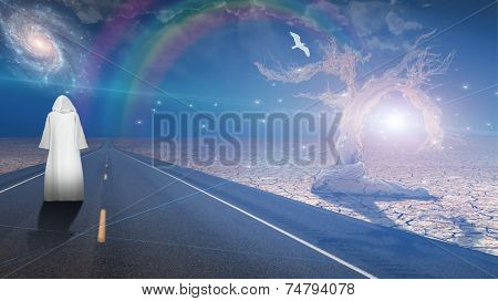 White robed man on road