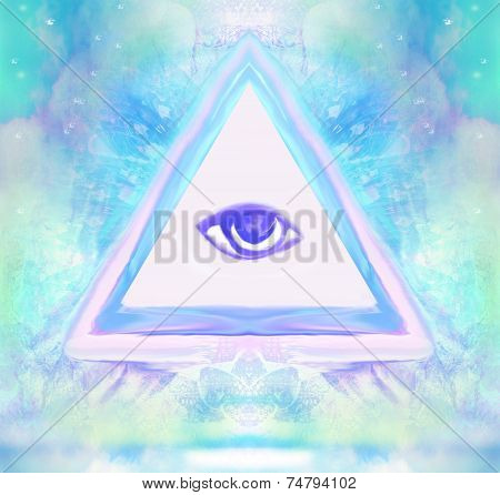 All seeing eye on abstract landscape , raster poster