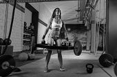 Hex Dead Lift Shrug Bar Deadlifts woman at gym workout weightlifting poster