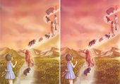 Illustration of a little girl saying goodbye to her loving pets and family which is going to heaven poster