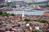 Aerial view of Boston North End, Old North Church and Italian Community, Boston, USA poster