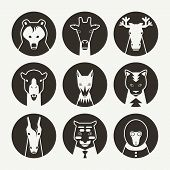 Stylized animal avatar set in flat style for social networks. Black emblem on a white background poster