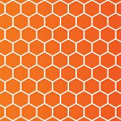 Honeycombs pattern background. Abstract wallpaper with rhombus cell. Orange background. Vector poster